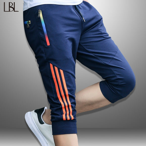 Men Striped Men's Short Sweatpants Jogger Breathable Trousers