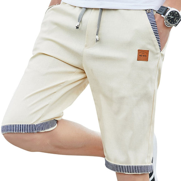 New Summer Men cotton beach elastic waist casual shorts