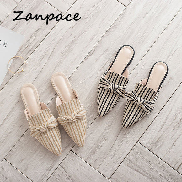 Summer Fashion Striped Slides Butterfly Indoor Flip Flops Plus Size Shoes