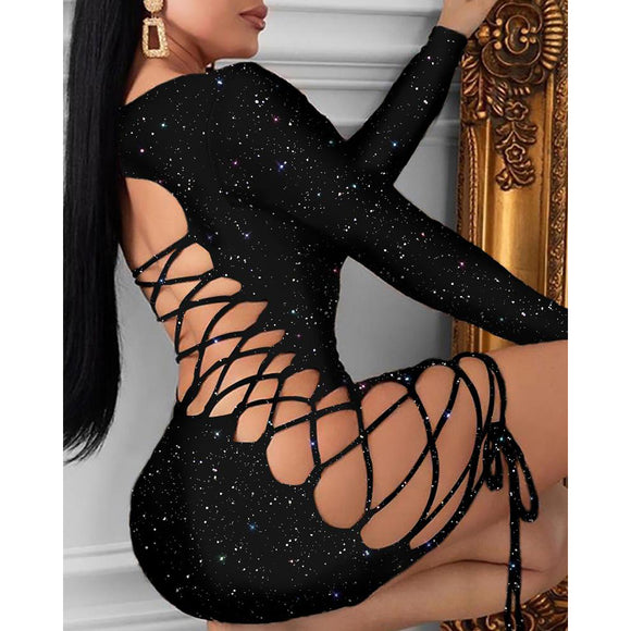 Sexy Bling Bodycon Mini Dress Long Sleeve Glitter Bandage Hollow out
