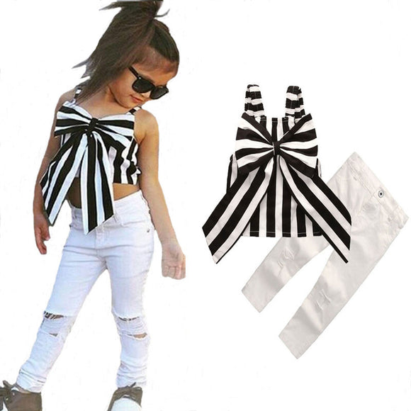 Girl's Suit Ins Suspender Pants 2-piece Set Striped Big Bow Top