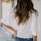 Summer Batwing Half Sleeve Women's White V-neck Loose Streetwear Blouse