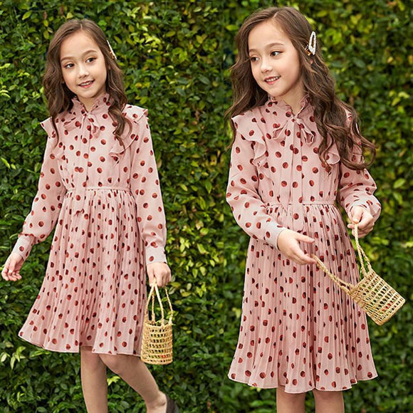 Summer Girl Chiffon Pleated Dress Kids Ruffles Polka Dot Dresses