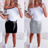 Fashion Women Mini Dress Color Matching Design Pockets Decoration