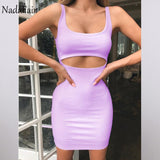 Nadafair Bodycon Club Hollow Out Ruched Backless Bandage Sexy Dresses