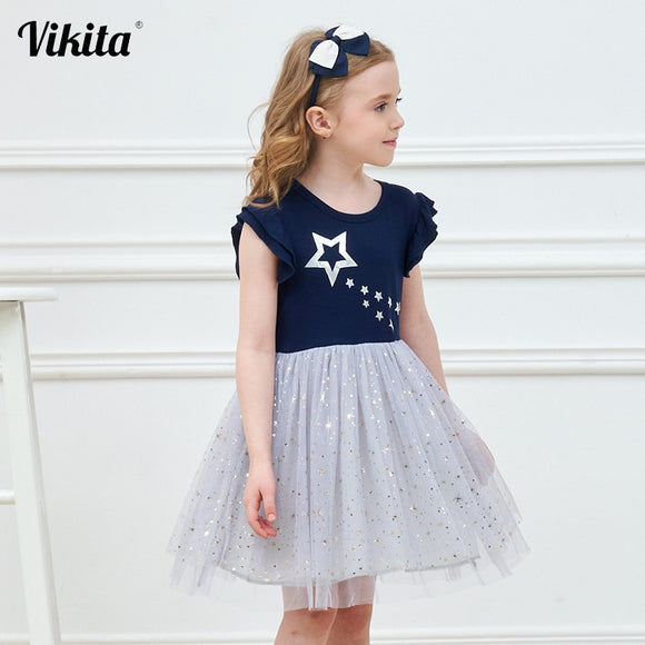 VIKITA princess dress kids unicorn dresses sequin tutu dress