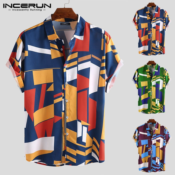 INCERUN Men Beach Shirt Geometric Print Short Sleeve Lapel Neck Button Leisure Hawaiian Shirts