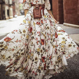 Women's Flowers Dress Floral Maxi Boho Summer Beach Party Round Neck Dress