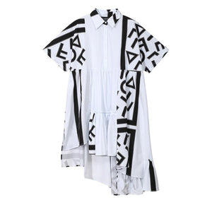 Women Stylish White Midi Shirt Dress Geometric Printed Plus Size
