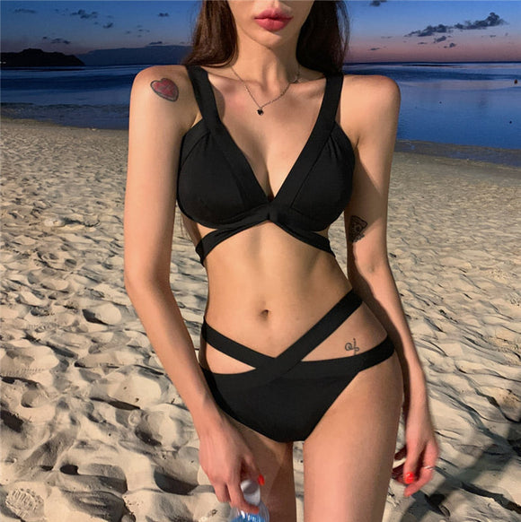 Summer Swim Wear Women Slim Fit Sexy Split Type Black Bikini Push Up