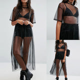 Summer Volie See Through Black Gauze Mesh Half Sleeve Lace Sundress