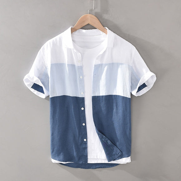 Men High Quality 100% Linen Fabric Gradient Patchwork Short Sleeve Casual Slim Shirt