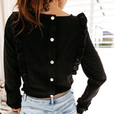 Women Ruffles Buttons OL Blouse O-Neck Long Sleeve Solid Tops
