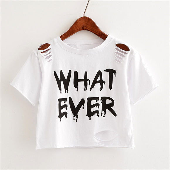 Women Crop Tops Harajuk Crew Neck Short Sleeve WHAT EVER printed T-Shirt