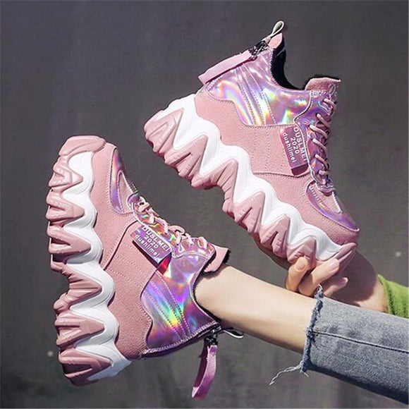 Chunky Sneakers Platform Ladies Brand Wedges Leather Sports Dad Shoes