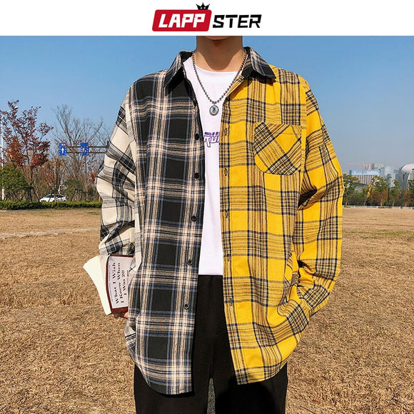 LAPPSTER Men Cotton Plaid Shirt Man Hip Hop Patchwork Button Up Long Sleeve
