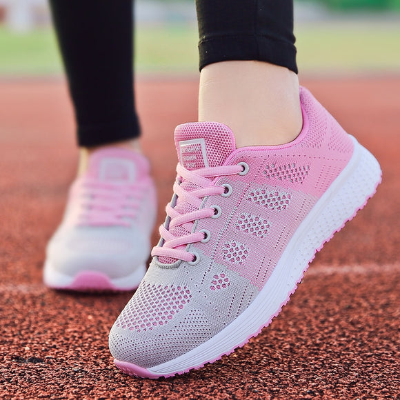 Women Breathable Walking Mesh Lace Up Flat Sneakers Tenis Feminino White Vulcanized Shoes