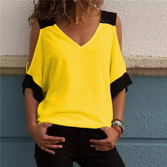 Women's Patchwork Cold Shoulder T-shirt Plus Size Tops V-Neck