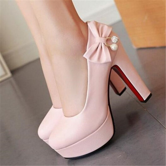 Customized single shoes 44 - 47 yards large size high-heeled shoes with butterfly knot diamond