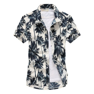 Mens Short Sleeve Hawaiian Fast drying Plus Size Summer Floral Shirt