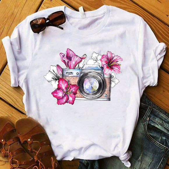 Women Fashion girl Printed vogue Vintage Printed Cute Top Tshirt
