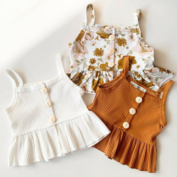 2 PCS Kids summer Sleeveless Knitted Vest Tops Flower Shorts Pants