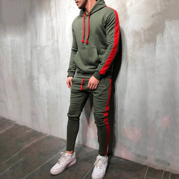 Men's Hooded Sweatshirt Drawstring Pants Stripe Patchwork