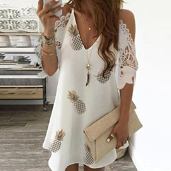 Sexy Off Shoulder V Neck Dress Floral Print Lace Beach Dresses