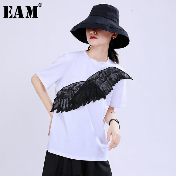 [EAM] Women Wings Mesh Split T-shirt Round Neck Short Sleeve