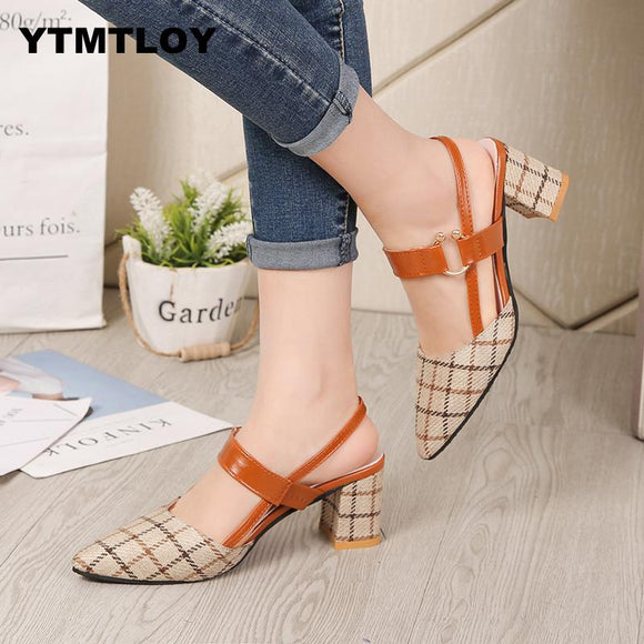Lady Shoes Hollow Coarse Sandals High-heel Shallow Mouth Pointed Pumps