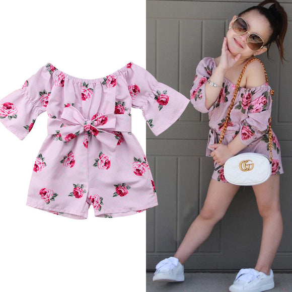 Kids Flower Romper Off Shoulder Bow Jumpsuit Sunsuit Summer Clothes