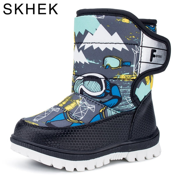 Skhek Winter Boots Waterproof Shoes Fashion Warm Toddler Footwear