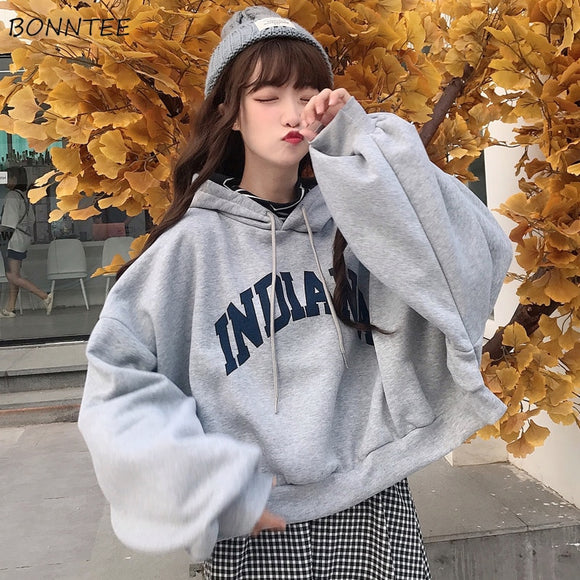 Women Hooded Oversize Thick Plus Velvet Loose False Two-piece Letter Print Hoodie