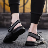 Mens Beach Flat Sandals Peep Toe Black Shoes Walking Sandalias Hombre Verano