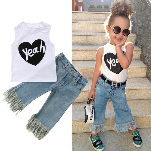 Kids Baby Girl Vest Top T-shirt Jeans Denim Pants Outfits