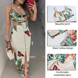 Women Hollow Out Butterfly Printed Long Strap Bodycon Printed Vestidos