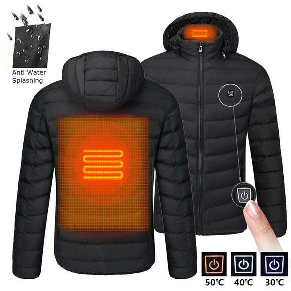 Men Winter Warm Waterproof USB Heating Jackets Smart Thermostat Pure Color Hooded Heated Clothing