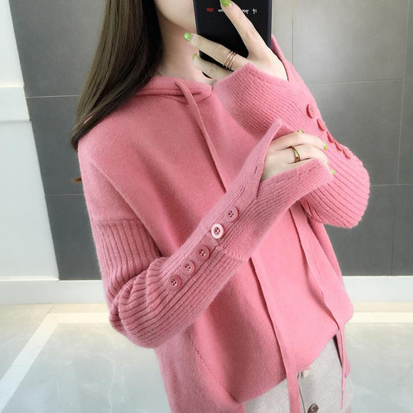 Winter Women Hooded Loose Solid Button Knitwear Pullover Sweater