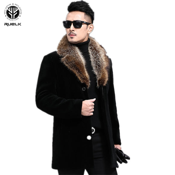 RUELK Autumn And Winter Woolen Coat Men's Single-breasted Thickened Medium-Length