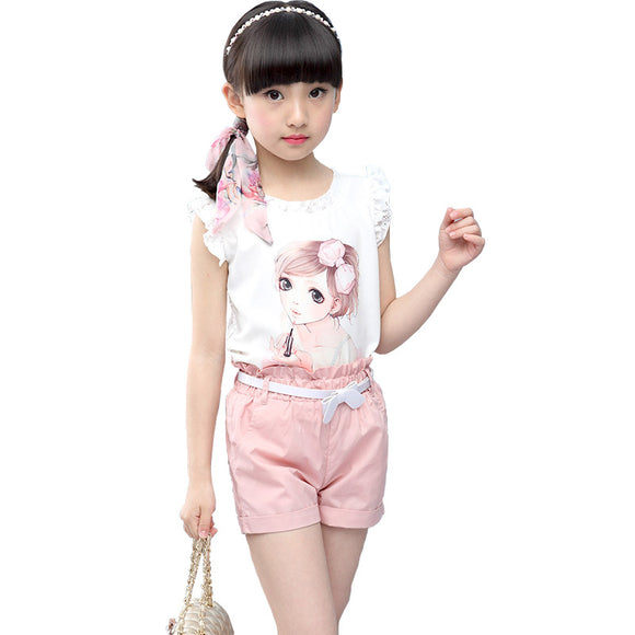 Girls Suits Summer Children Clothing Lace Sleeveless Print