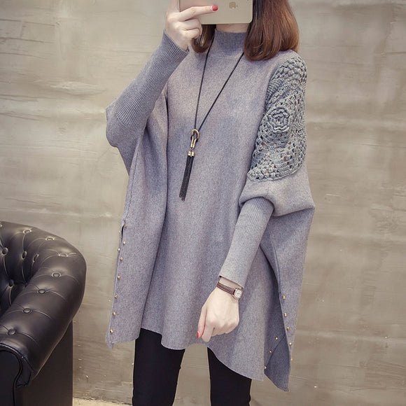 Winter New Loose Sweater Coat Women's Half-high Collar Pullover Wrap Swing Beading