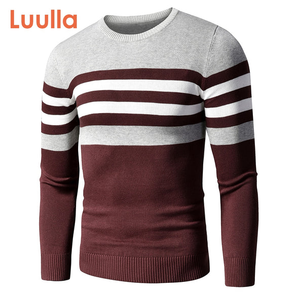 Men's Casual Striped Thick Fleece Cotton Sweater