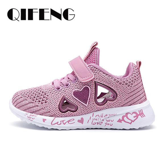 Children Mesh Sneakers Banner Sport Footwear Kids Cute Pink Flat Shoes