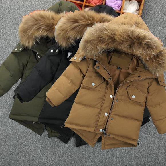New Parker Boys Hodded Solid Faux Fur Collar Baby Winter Jacket