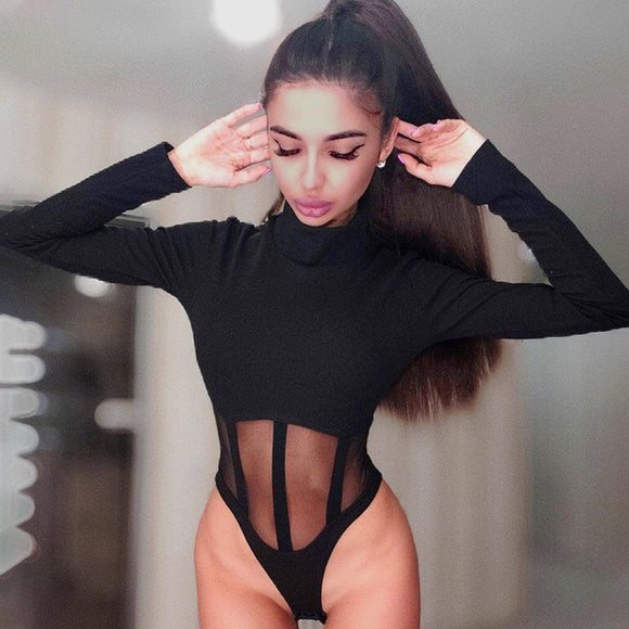 Skinny Rompers Sexy Turtleneck Hollow Out Bodysuit