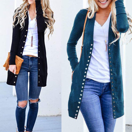 New Elegant Slim Knitted Long Sleeve Cardigan Plus Size Long Sweater for Women
