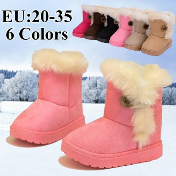 Winter Children Thick Warm Shoes Cotton-Padded Suede Buckle Kids Boots