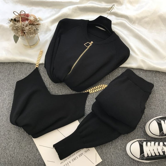 Knitted sweater suit casual temperament chain vest