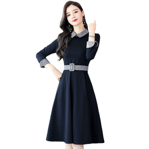 Women Elegant Slim A-line Stitching Large size 3XL Office Dress with Belt Vestidos