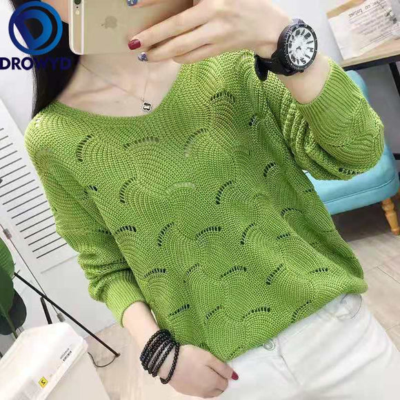 Sexy Soft Cotton Loose V-neck Knitted Sweater Hot